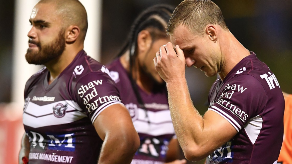 Daly Cherry-Evans hangs his head after another Manly defeat.